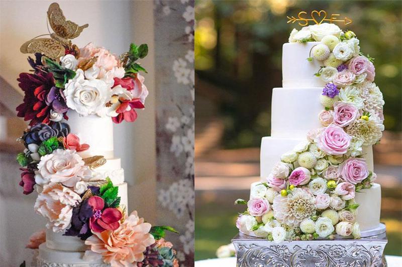 Tạo điểm nhấn tuyệt vời với những mẫu bánh kem hoa khi tổ chức tiệc cưới